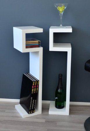 Set 2 mensole angolari per CD e libri, utilizzabili anche come tavolini o comodini, colore bianco: Amazon.it: Casa e cucina