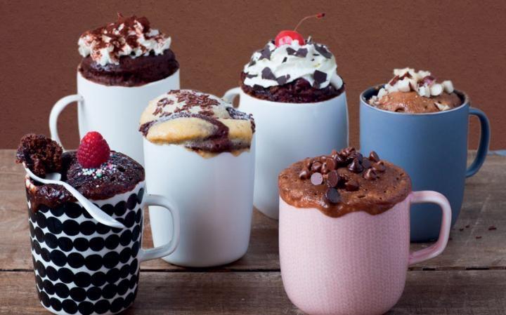 decorated chocolate microwave mug cakes