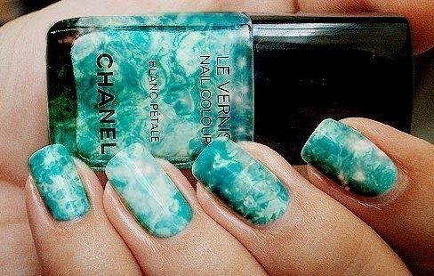 Swirled Cloudy Manicure: Fashion Make Up, Ties Dyes Nails, Nails Art Ideas, Chanel Nails, Teal Nails, Nails Design, Nails Polish, Blue Nails, Marbles Nails