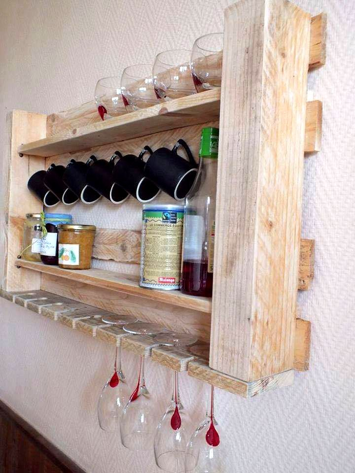 2 in 1 Pallet Tea Rack and Glass Rack - 25+ Renowned Pallet Projects & Ideas | Pallet Furniture DIY
