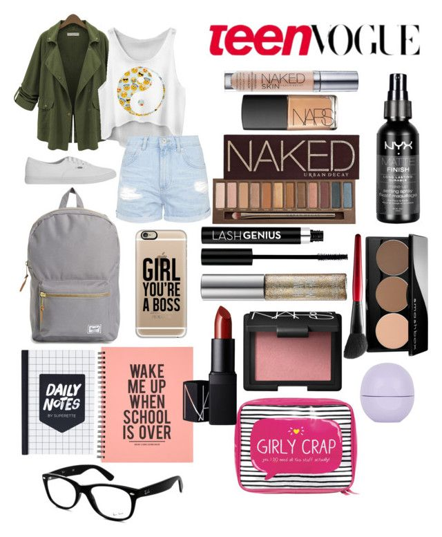 """Back2School Outfit (Thursday)"" by secretkkpm on Polyvore featuring Urban Decay, Vans, Casetify, Ray-Ban, Topshop, NARS Cosmetics, Anastasia, Smashbox, Happy Jackson and Herschel Supply Co."