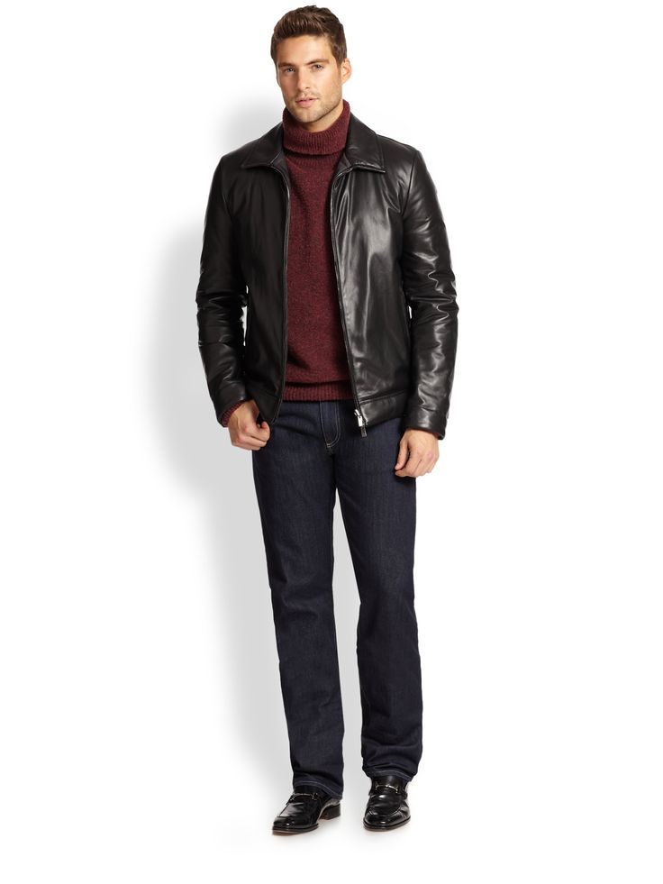 Canali Leather Jacket in Black for Men | Lyst