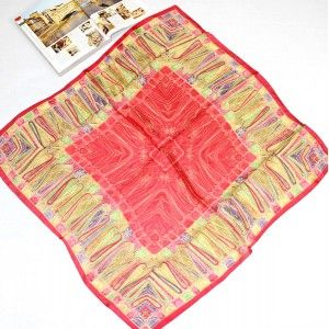 Vintage Red Totem Pattern Large Silk Square Scarf