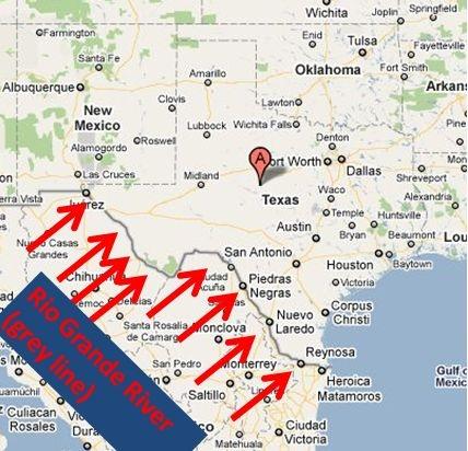 the rio grande river follows the west texas border texas