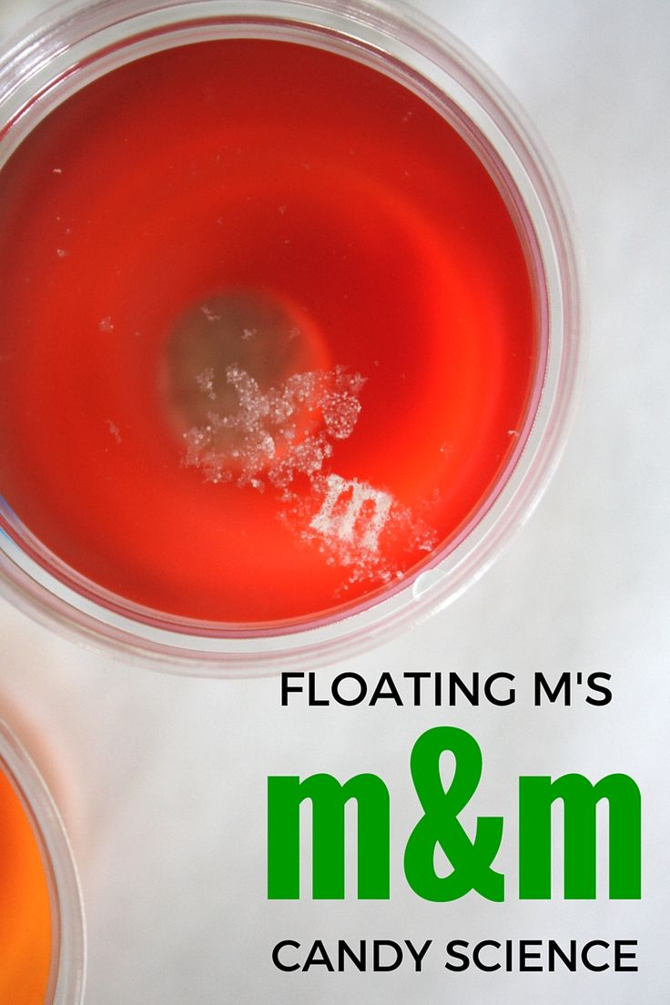 Floating M M&M Candy Science Experiment. Easy candy activity to do with leftover holiday candy. Candy math activities too.