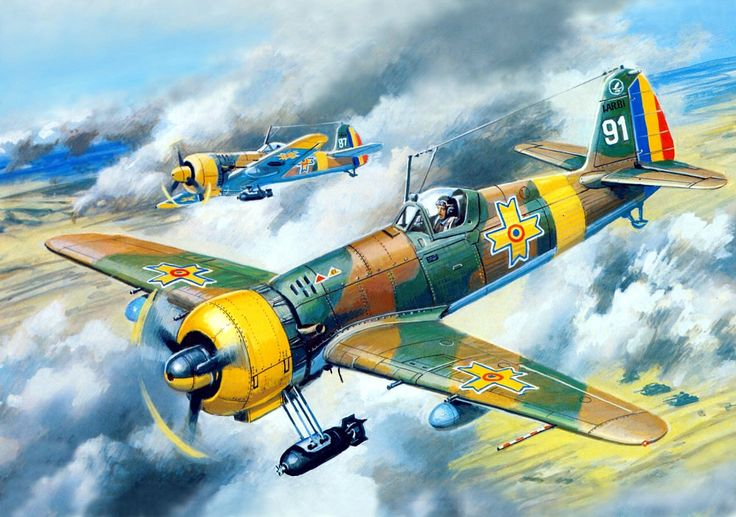 """pinturas-sgm-aviacion: """" 1942 IAR-80 cazabombardero - Rudenko """" What a weird bomb rack…"""