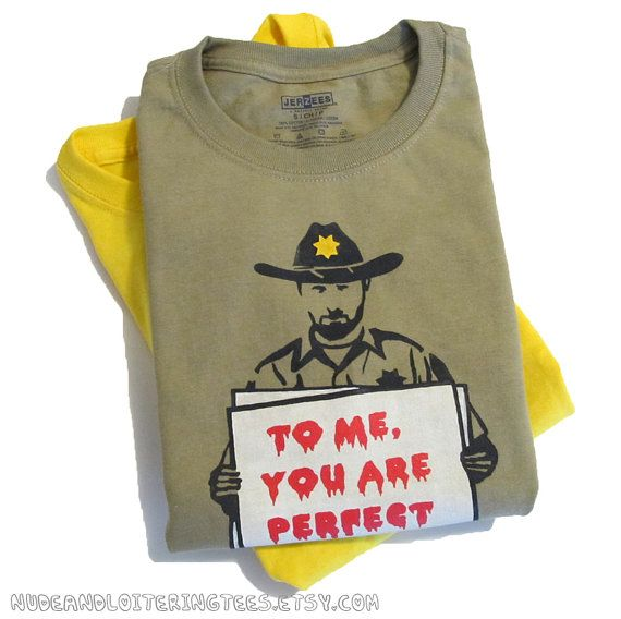 Walking Dead Shirt - Rick Grimes Love Actually Mashup (Choose Your Size - Youth & Adult) Zombies Gift for Him Men Tshirt. $20.00, via Etsy.