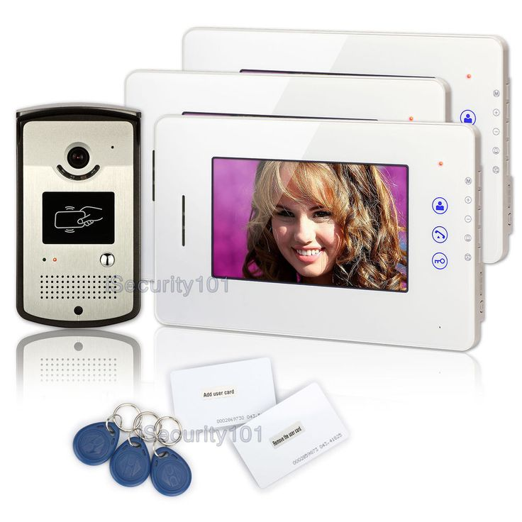 """7"""" Wired Touch Key Video Intercom Door Bell Phone 3 Monitors Kit RFID Card Night in Home & Garden, Home, Personal Security, Intercoms   eBay"""