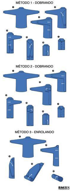 3 formas de dobrar uma camisa para colocar na mala de viagem