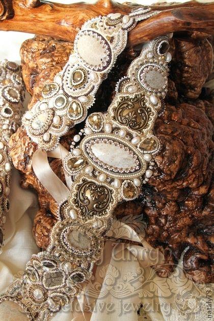 """Купить пояс """"El Palazzo"""" - бежевый, орнамент, шикарный пояс, Вышивка бисером, пояс с камнями"""