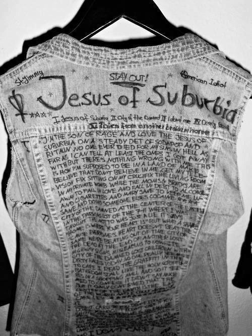 Band lyrics on denim jacket