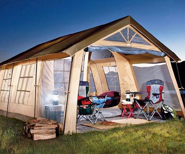 Rough it in the wild with your family in absolute luxury by lodging inside the ten person cabin tent. This massive tent features built-in dividers for added privacy and comes with a cozy little front porch ideal for relaxing in.