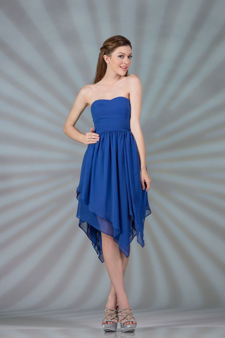 Formal High Low Strapless Chiffon Bridesmaids Dress Sale