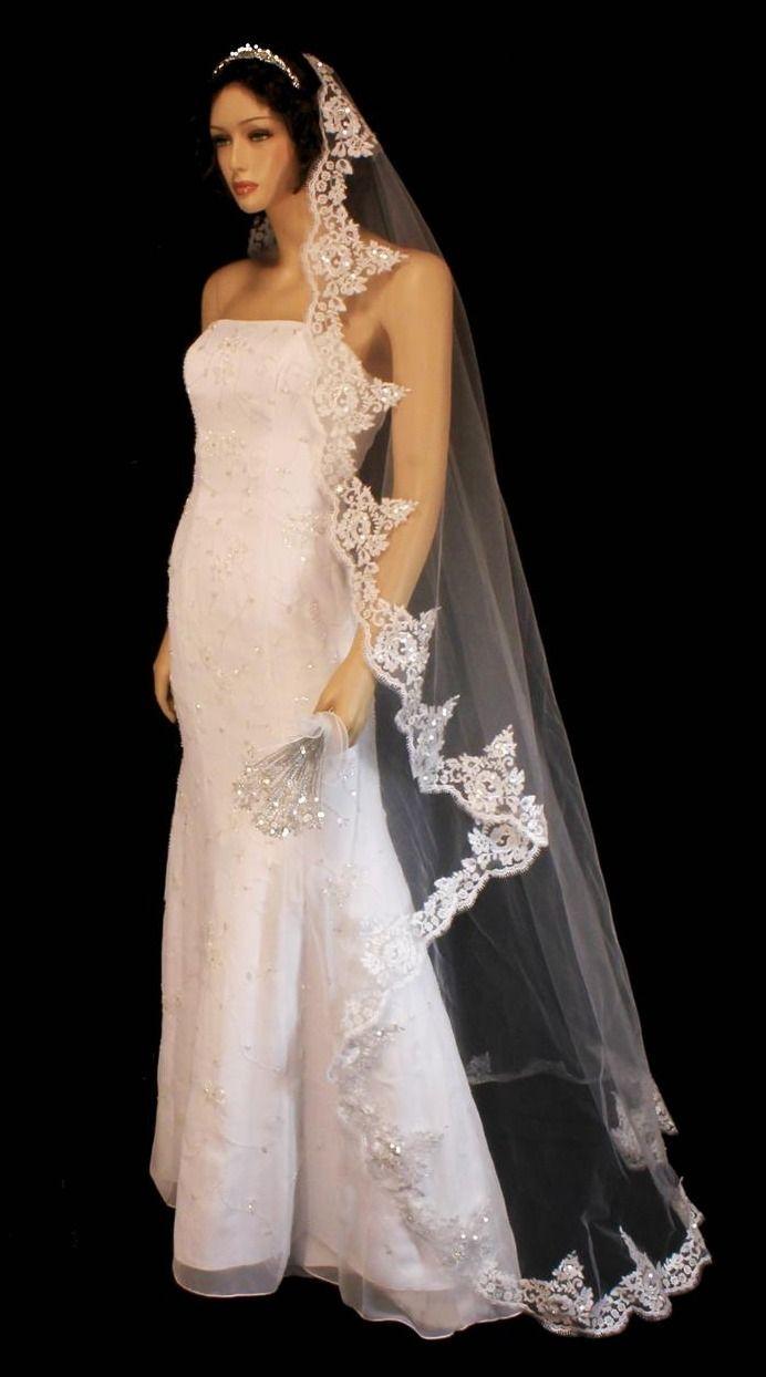 Beaded Lace Edge Mantilla Floor Length Wedding Veil