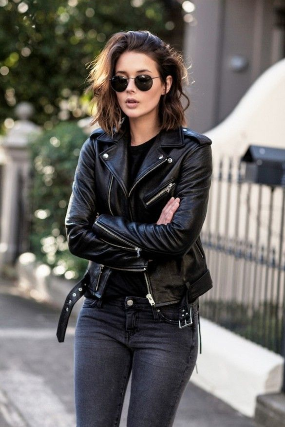 Steal This Australian Blogger's Edgy Leather Jacket Look for Fall via @WhoWhatWear