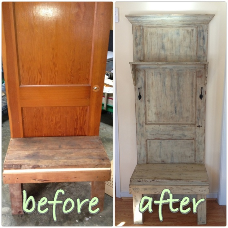 Old Door Upcycle To A Hall Tree Www.facebook.com/thesugarberryshack