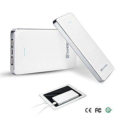 TecHERE MobiPower 12000 - Batteria esterna (power bank) universale 12000 mAh con doppia uscita USB - Caricabatteria / caricatore portatile di emergenza compatibile con tutti gli smartphone, cellulari e tablet - Carica velocemente iPhone 4 4s 5 5s 5c 6, iPad, iPod, Samsung Galaxy S2 S3 S4 S5 Note, Nokia, Sony, HTC, LG, Nexus ed altri - Colore Bianco