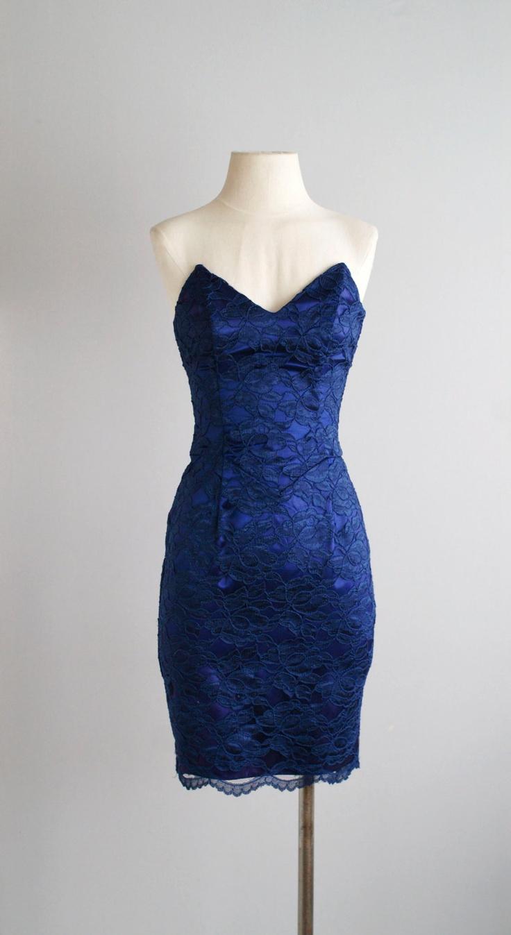 80s dress / 1980s strapless party dress  / All Night Long dress. $64.00, via Etsy.