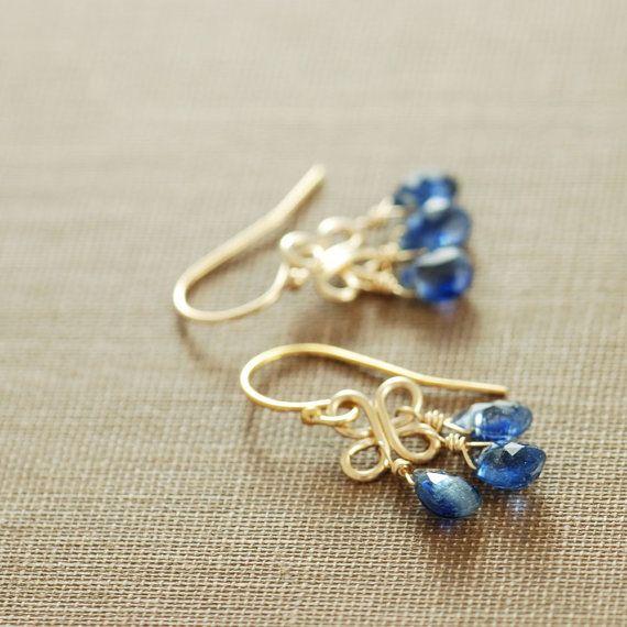 Septiembre cumpleaños zafiro azul araña pendientes de por aubepine