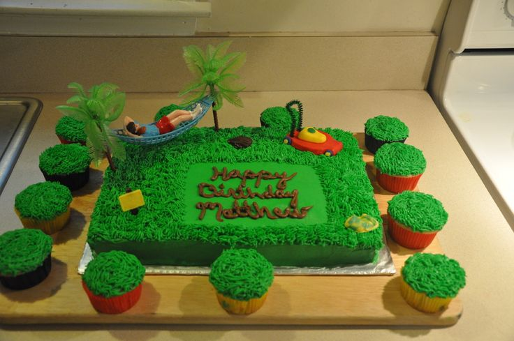 It's a 9X13 with Butter cream icing, the Lawn mower is fondant and because i was rushing to get the cake done i broke the handle for the mower and the only thing I had on hand was a pipe cleaner,lol..  (First time working with fondant)  The sign on the left says Keep off the grass, and theres also some gloves and a yellow pot which were candy molds.