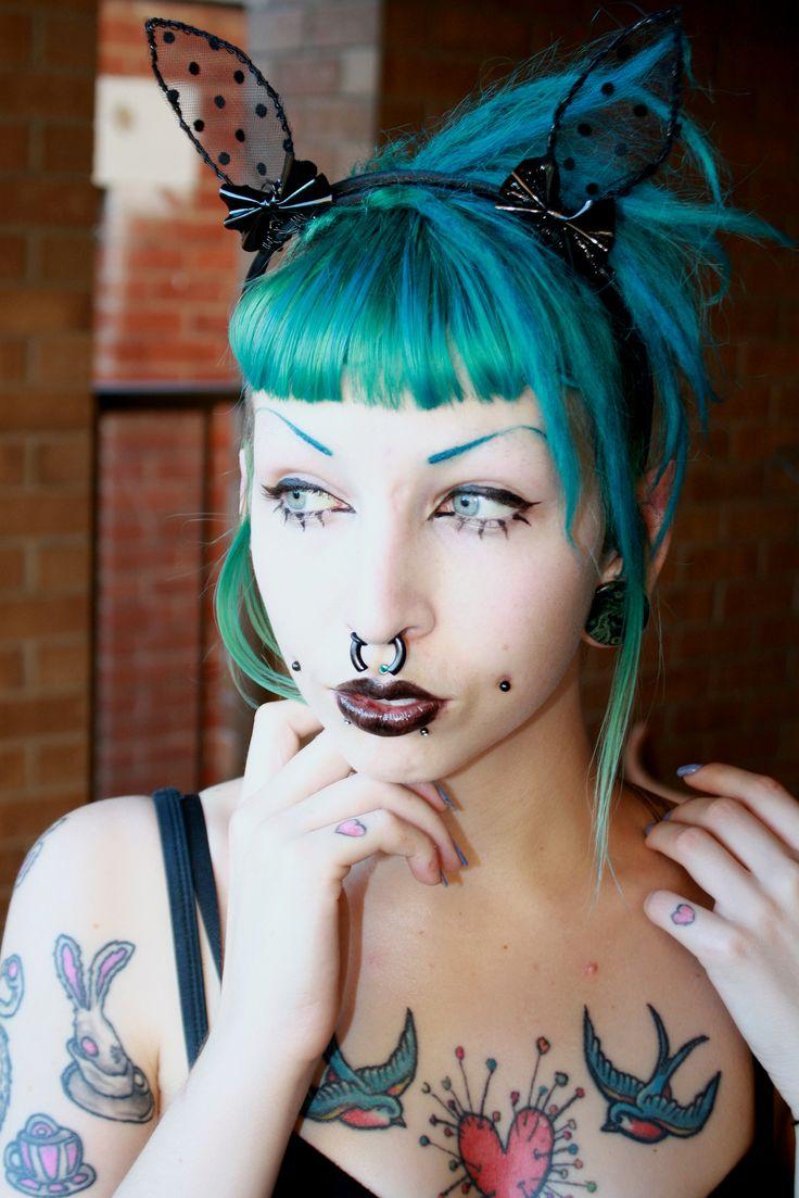 Tentacles + Teacups: DIY lace bunny ears with PVC bows! :D tutorial craft dress-up rabbit punk rock costume #halloween #hair #tattoos