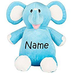 Personalized Stuffed Blue Elephant with Embroidered Name