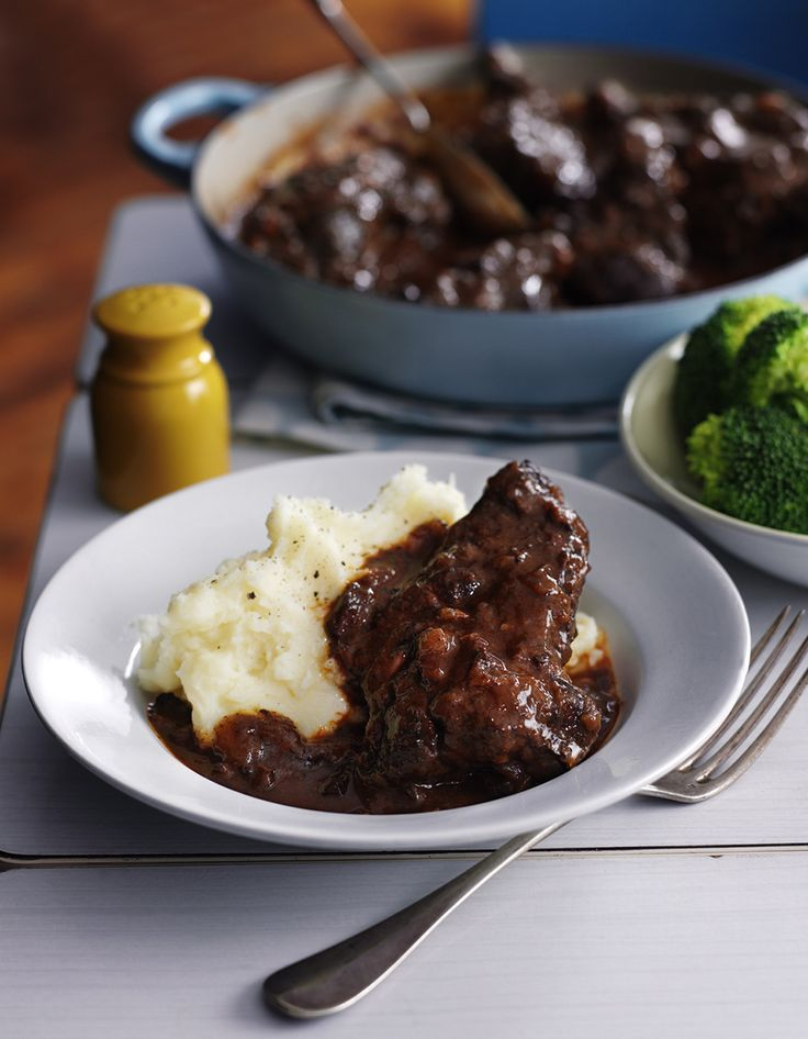 Slow-cooked ox cheek stew with wine and smoky bacon. Just add creamy mash potatoes and you're onto a dinner of the upmost comfort.