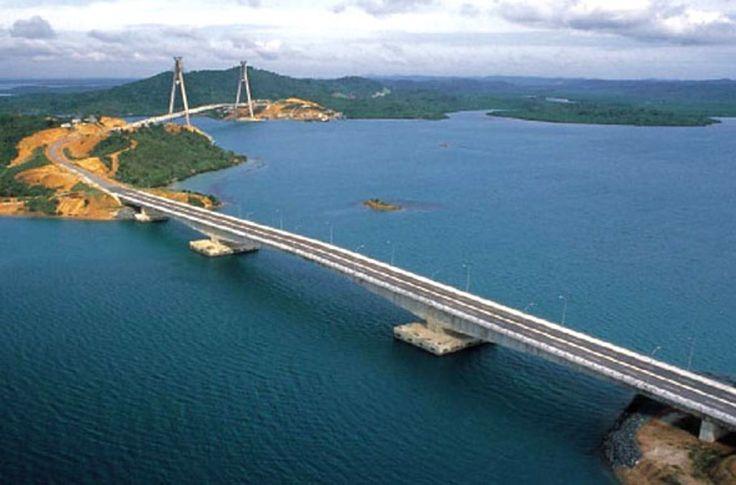 Barelang Bridge I and II of 5 bridges span from Batam Island to Galang Baru Island