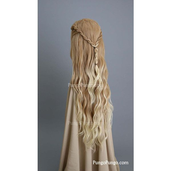 Cersei Lannister Costume Wig Sample Long Strawberry Blonde Curly Lace... (£74) ❤ liked on Polyvore featuring costumes, bath & beauty, grey, hair care, wigs, ladies halloween costumes, fairy costume, elf princess costume, elf costume and role play costumes