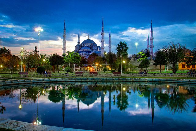 The Blue Mosque, Istanbul, Turkey  been here!!! lives up to it's name - blue!