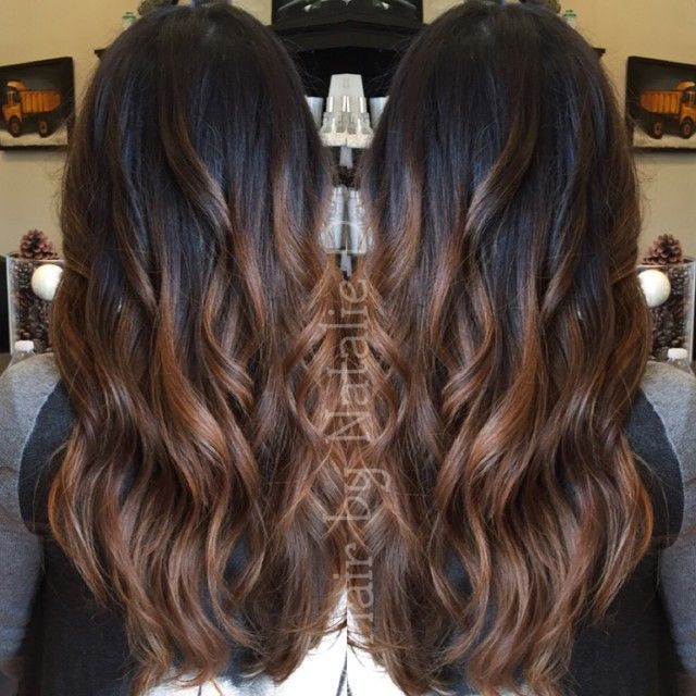Balayage on black hair natalied_makeup_hair's photo on Instagram