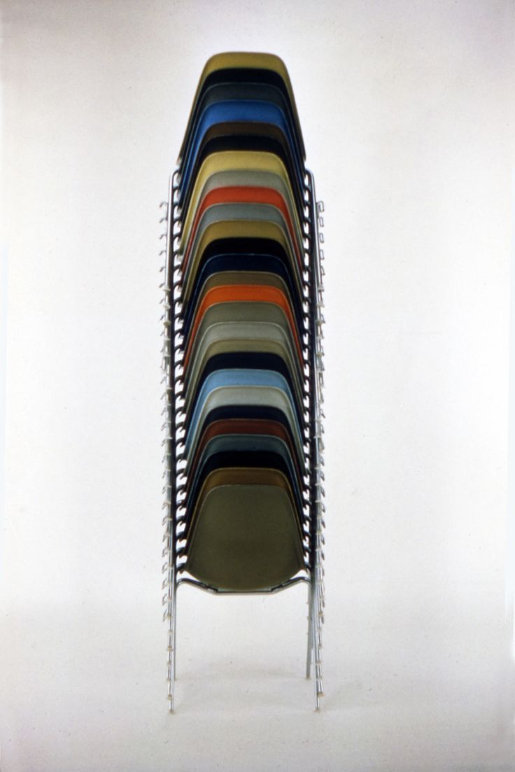 darksilenceinsuburbia: Charles and Ray Eames: Stacking Chairs 1957 Follow http://thevintagologist.tumblr.com/ more than 10.000 posts of vintage lifestyle, design, fashion, art, cars, architecture, music and stuffs