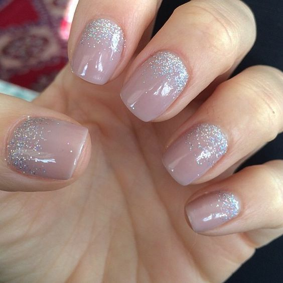 mauve nails with multi silve glitter