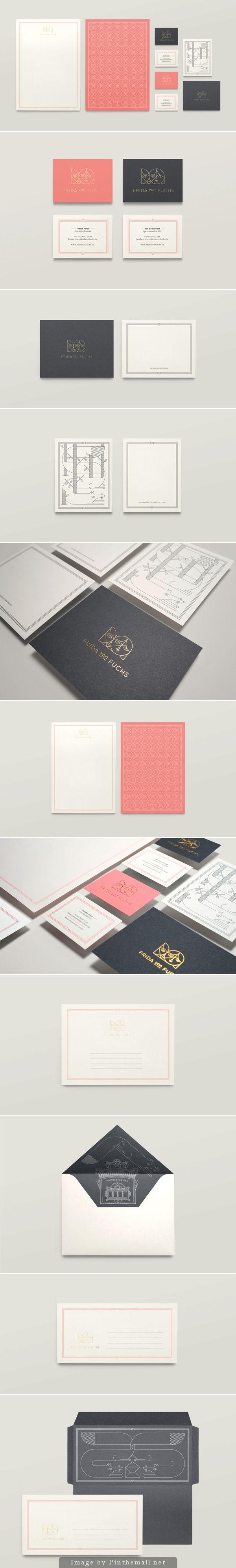 Corporate identity branding business card letterpress notebook minimal illustration vintage paper gold foil stationary grid fox graphic design