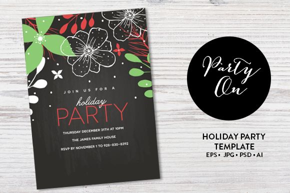 Check out Holiday Party Invitation Template by Pixejoo on Creative Market