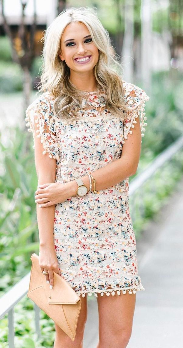Lovely lace peach multicolored dress for a spring wedding