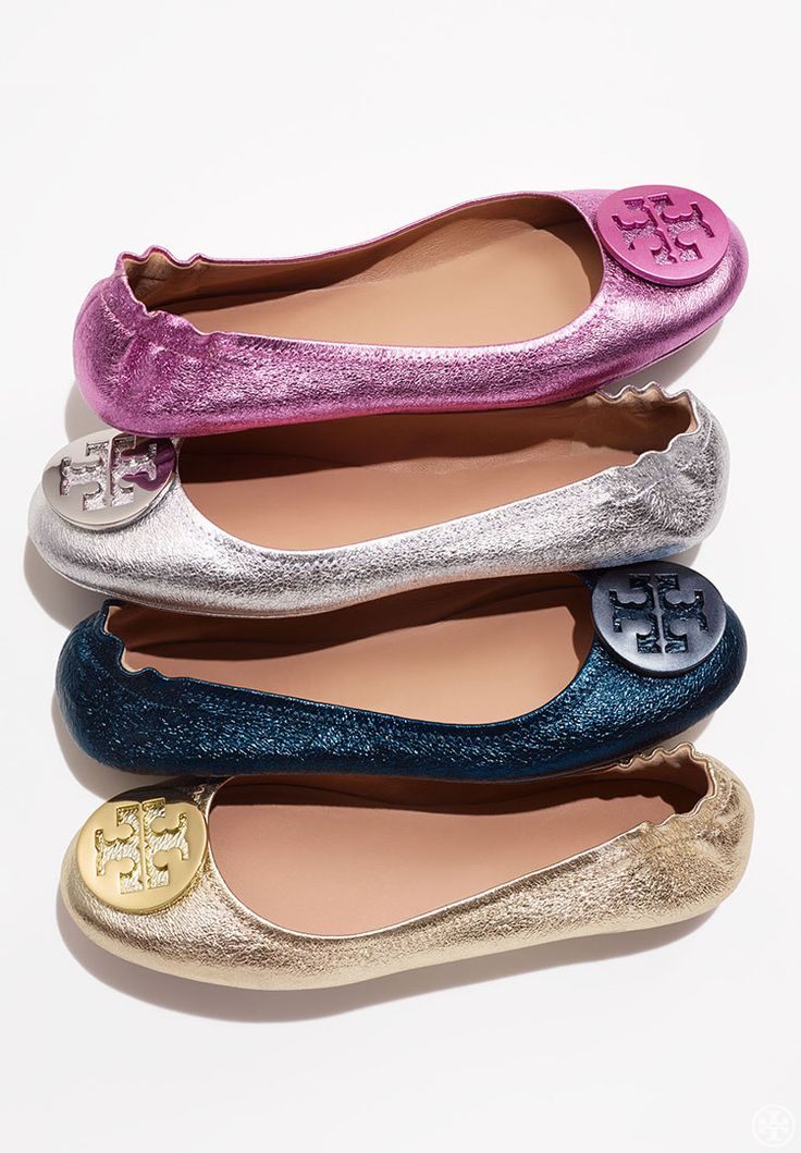 Fold. Pack. Go. Twinkle toes. Meet the Minnie Travel Ballet — the effortless chic and comfort of a flat, made packable. Crafted in lightweight, super-soft metallic napa leather, it features a sl