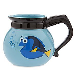 Dory Mug - Finding Dory | Disney Store Trouble is brewing for Dory who finds herself on this novel mug. Styled in the form of a coffee pot, this ceramic cup is inspired by a pivotal scene in Disney•Pixar aquatic animated adventure <i>Finding Dory</i>.