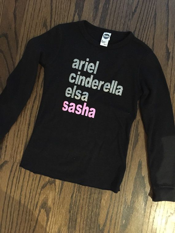 This listing is for a custom Disney Princess Character List long sleeve t-shirt.  The Disney Princess Character List t-shirts are super fun to show
