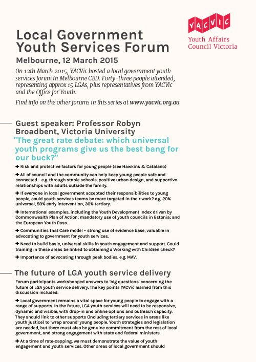 Findings from the LGA youth services forum 12th March 2015