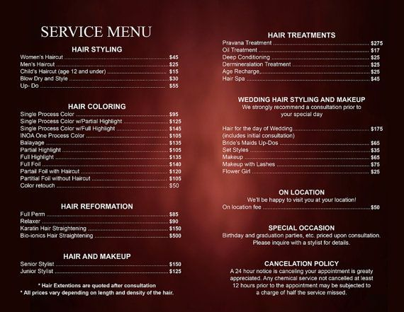 Hair salon service price list professional hair stylist for F salon jaipur price list