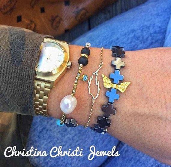 Angel Wings Bracelet, Gold Wings Bracelet, Wings Jewelry, Leaf Bracelet, Pearl Bracelet Made in Greece by Christina Christi Jewels.
