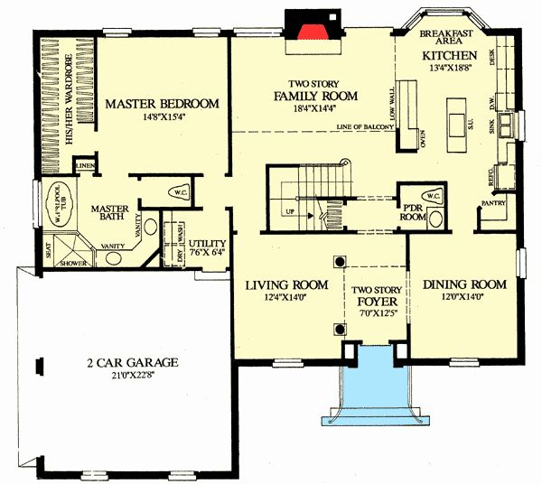 Open Floor Home Plans Awesome Plan Wp Colonial Home With First Floor Master Di 2020 Denah Rumah Denah Lantai Denah Lantai Rumah