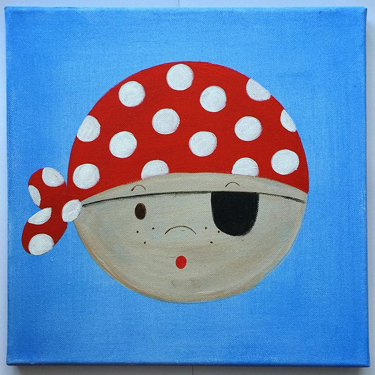 Handmade children's canvas painting with a pirate in shades of red, blue and beige.