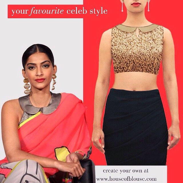 Sonam Kapoor's effortless style, a modern take on the sari blouse. Get a similar Peter Pan collared blouse or crop top Or customise the sleeves, neck, length, fabric from http://bit.ly/1K3ejMw *Shipping worldwide* Whatsapp helpline: +91 81050 68601. #saree #blouse #sareeblouse #indianwear #bollywood #celebstyle #fashion #style