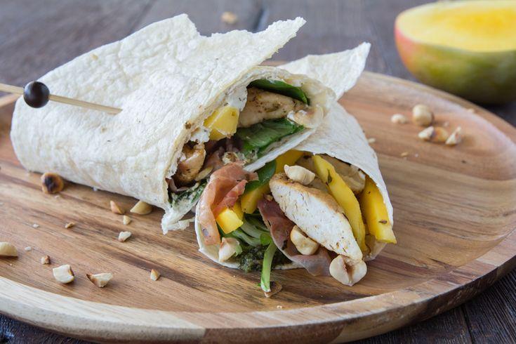 Kip-mango wrap met rauwe ham | Vleeschwaar recept van Smulweb