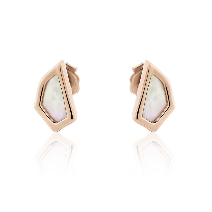 Iceberg Collection earrings in pink plated sterling silver with mother of pearl