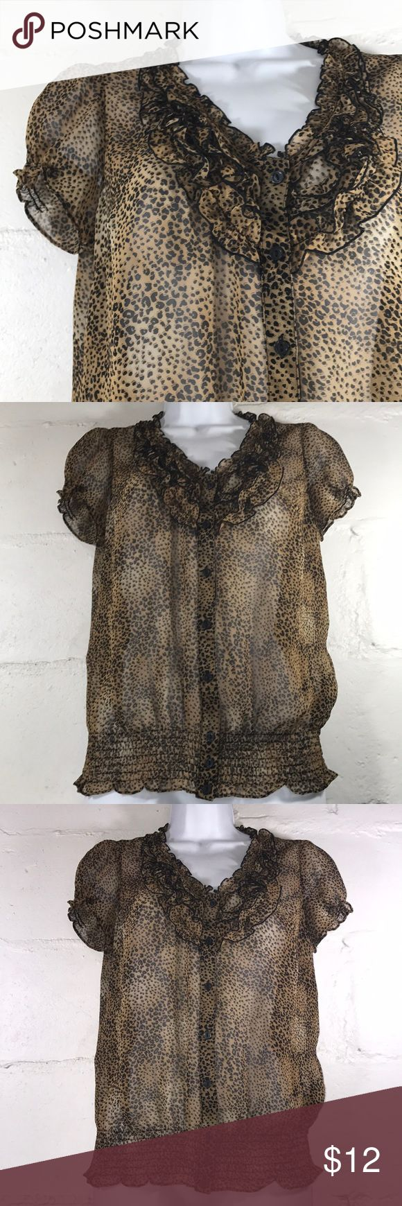 """East 5th Petite Ruffle Front Animal Print Top East 5th Petite Animal Print Ruffled Front Sheer Blouse, 8 Button Front Closure, Capped Sleeves with Partial Elastic, Elasticized Smocked Waistband  Size (PS) """"Petite Small"""" Measurements are Flat-Lay; Bust: Length: Waistband:  Fabric Content; 100% Polyester East 5th Tops Blouses"""
