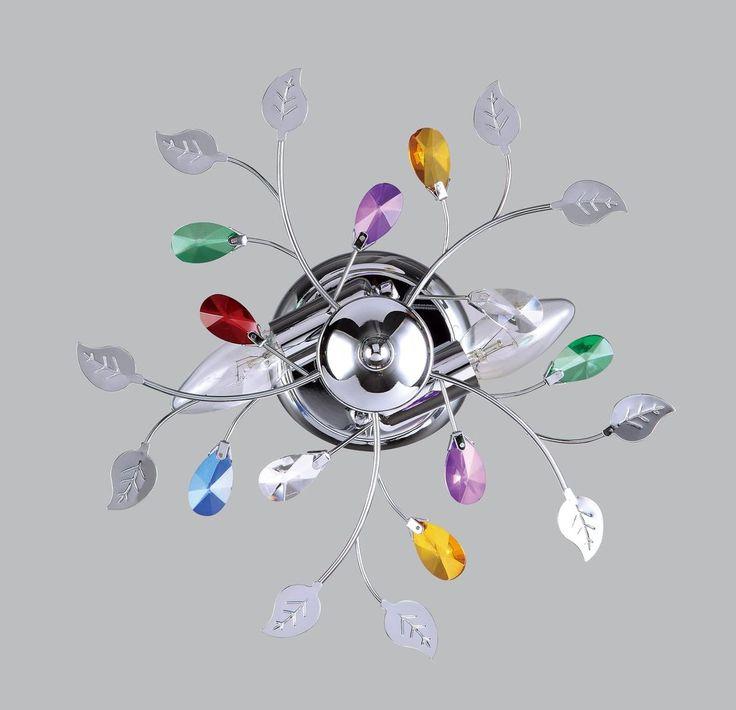 Lampadario moderno acciaio cromo cristallo plafoniera soffitto salone ...