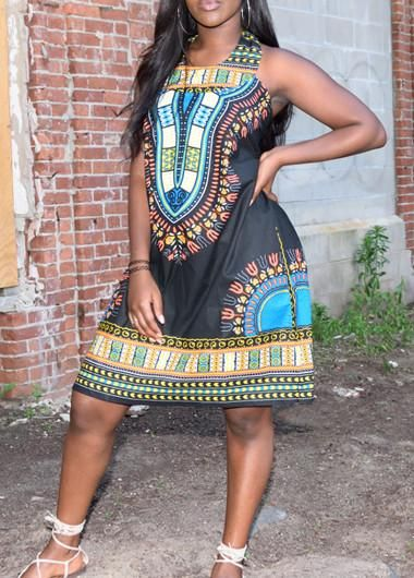 African Dashiki Black Shirt Dress